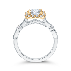 Two Tone Gold Vintage Diamond Engagement Ring CARIZZA CA0042E-37WY
