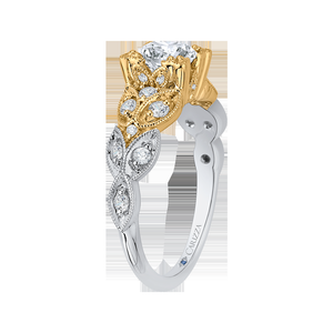 Floral Diamond Engagement Ring with Two Tone Gold CARIZZA CA0049E-37WY