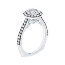 Load image into Gallery viewer, Round Diamond Halo Engagement Ring with Black Rhodium Tips CARIZZA CA0050E-37WBK