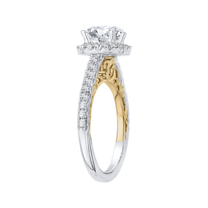 Diamond Halo Engagement Ring with Two Tone Gold CARIZZA CA0084E-37WY