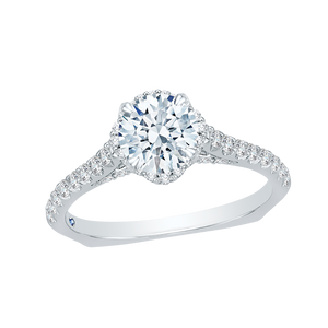 Floral Engagement Ring with Euro Shank CARIZZA CA0102E-37W