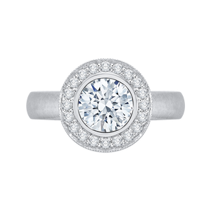 Plain Shank Halo Diamond Engagement Ring CARIZZA CA0107E-37W