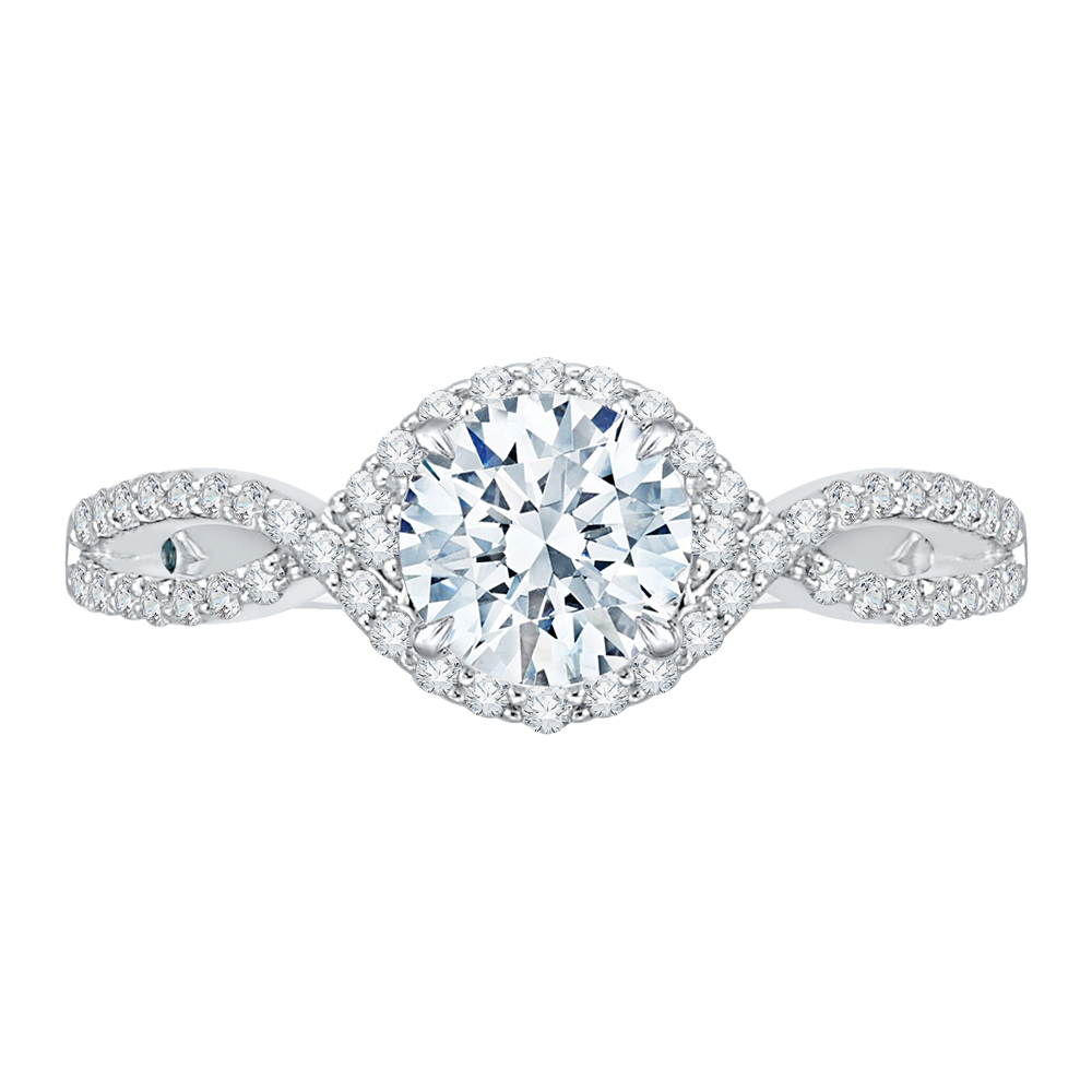 Split Shank Round Diamond Engagement Ring CARIZZA CA0110E-37W-1.00