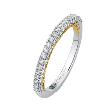 Load image into Gallery viewer, Two Tone Gold Half Eternity Diamond Wedding Band CARIZZA CA0111B-37WY