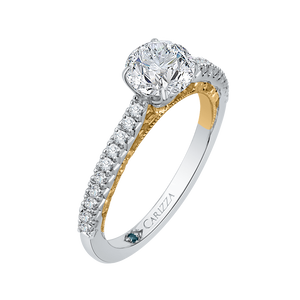 Two Tone Gold Round Diamond Engagement Ring CARIZZA CA0116E-37WY-1.00