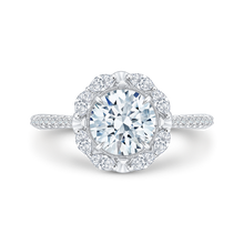 Load image into Gallery viewer, Round Diamond Halo Engagement Ring CARIZZA CA0126EQ-37W-1.50