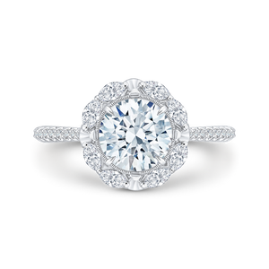 Round Diamond Halo Engagement Ring CARIZZA CA0126EQ-37W-1.50