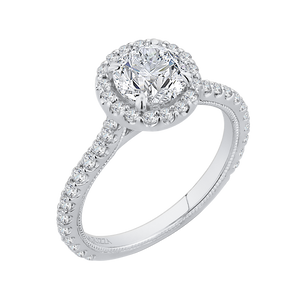 Diamond Halo Engagement Ring with Channel Set Diamonds CARIZZA CA0153EQ-37W