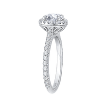 Load image into Gallery viewer, Diamond Halo Engagement Ring with Channel Set Diamonds CARIZZA CA0153EQ-37W