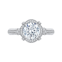 Load image into Gallery viewer, Channel Set Round Round Diamond Halo Engagement Ring CARIZZA CA0166EH-37W-1.50