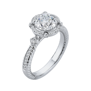 Channel Set Round Round Diamond Halo Engagement Ring CARIZZA CA0166EH-37W-1.50
