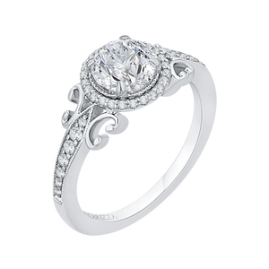 Semi-Mount Round Diamond Halo Engagement Ring CARIZZA CA0181EH-37W