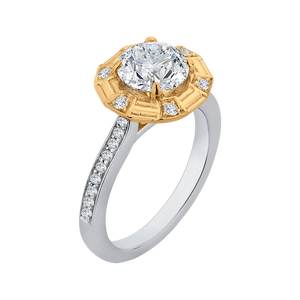 Cathedral Style Gold Diamond Engagement Ring CARIZZA CA0182EH-37WY-1.50