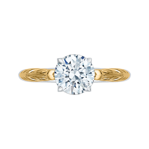 Two-Tone Gold Solitaire Diamond Vintage Engagement Ring CARIZZA CA0199E-WY-1.50