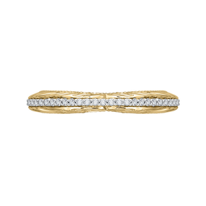 Yellow and White Gold Round Diamond Wedding Band CARIZZA CA0203B-42WY-1.50