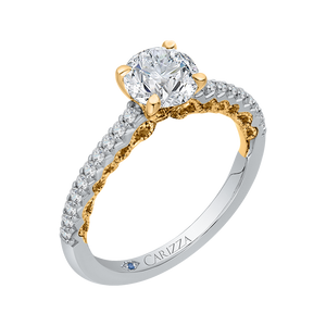 Two-Tone Gold Semi-Mount Round Diamond Engagement Ring CARIZZA CA0207E-37WY
