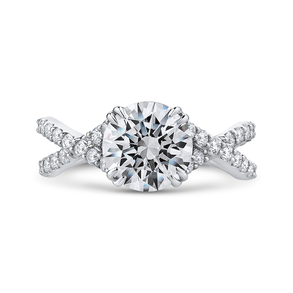 Split Shank Round Diamond Engagement Ring CARIZZA CA0231EQ-37W-2.00