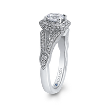 Load image into Gallery viewer, Split Shank Round Diamond Floral Halo Engagement Ring CARIZZA CA0234EH-37W-1.00