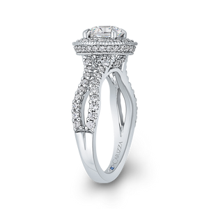Split Shank Semi-Mount Round Diamond Halo Engagement Ring CARIZZA CA0235EH-37W-1.00