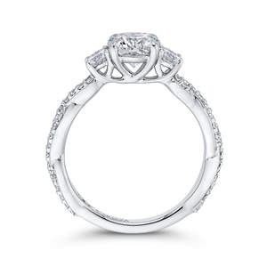 Split Shank Round Diamond Engagement Ring CARIZZA CA0246EQ-37W-1.00