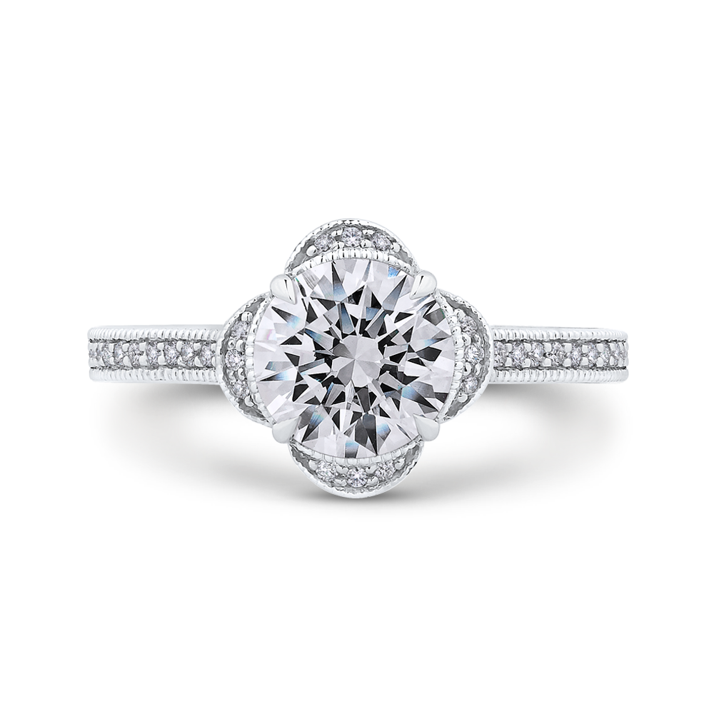 Semi-Mount Round Diamond Floral Halo Engagement Ring CARIZZA CA0257EH-37W-1.50