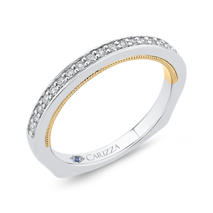 Two-Tone Gold Round Diamond Wedding Band CARIZZA CA0402BH-37WY-1.50