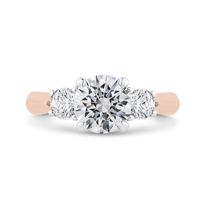 Rose and White Gold Three Stone Round Diamond Engagement Ring CARIZZA CA0405E-37PW-1.50