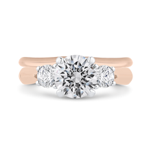 Load image into Gallery viewer, Rose and White Gold Three Stone Round Diamond Engagement Ring CARIZZA CA0405E-37PW-1.50