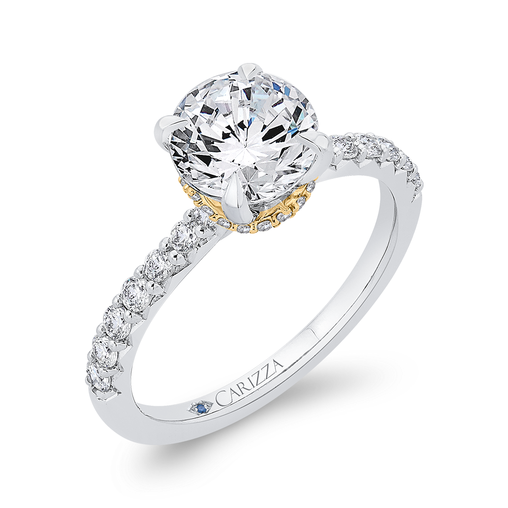 Semi-Mount Round Diamond Engagement Ring CARIZZA CA0409EH-37WY-1.50