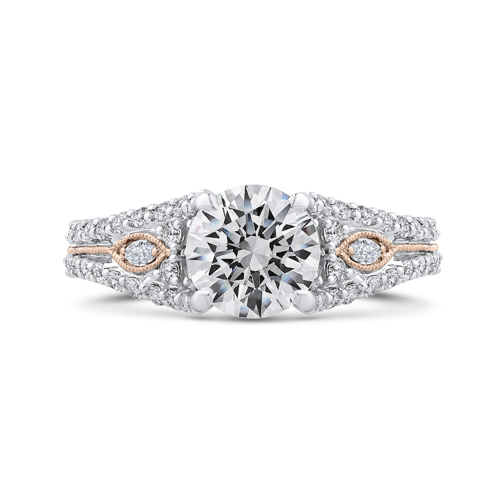White and Rose Gold Split Shank Round Diamond Engagement Ring CARIZZA CA0414EH-37WP-1.50
