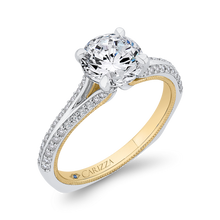 Load image into Gallery viewer, Split Side Euro Shank Round Diamond Engagement Ring CARIZZA CA0429EH-37WY-1.50