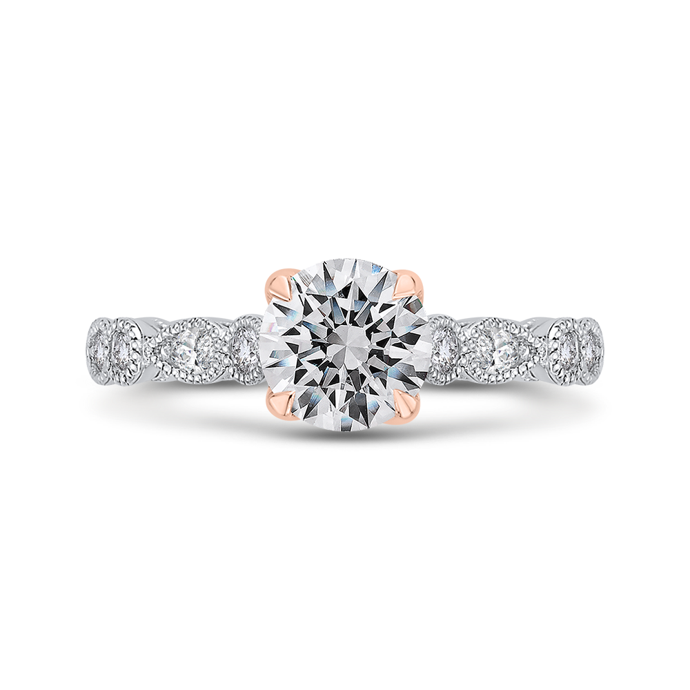 Semi-Mount Rose and White Gold Round Diamond Engagement Ring CARIZZA CA0431EH-37WP-1.00