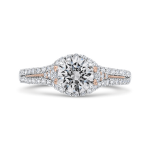 Load image into Gallery viewer, Split Shank Rose and White Gold Round Diamond Engagement Ring CARIZZA CA0460EH-37WP-1.00