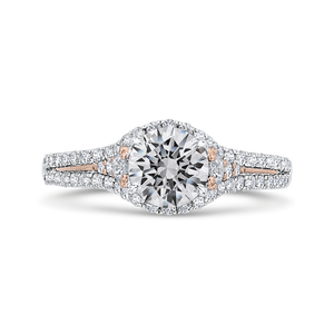Split Shank Rose and White Gold Round Diamond Engagement Ring CARIZZA CA0460EH-37WP-1.00