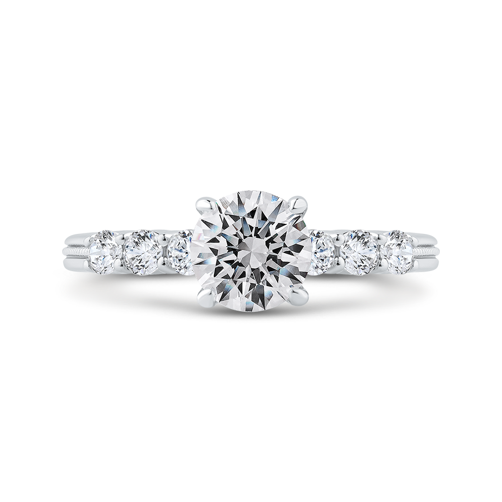 Euro Shank Semi-Mount Round Diamond Engagement Ring CARIZZA CA0488E-37W-1.00