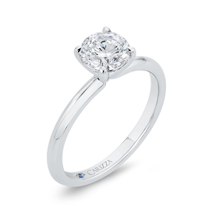 Plain Solitaire Round diamond Engagement Ring CARIZZA CA0519E-W-1.00