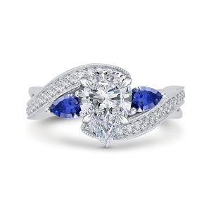 Sapphire White Gold Pear Diamond Engagement Ring CARIZZA CAA0065E-S37W