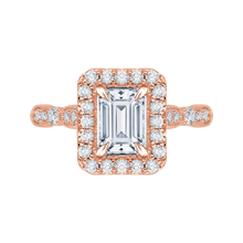 Load image into Gallery viewer, Semi-Mount Rose Gold Emerald Cut Diamond Engagement Ring CARIZZA CAE0042E-37P