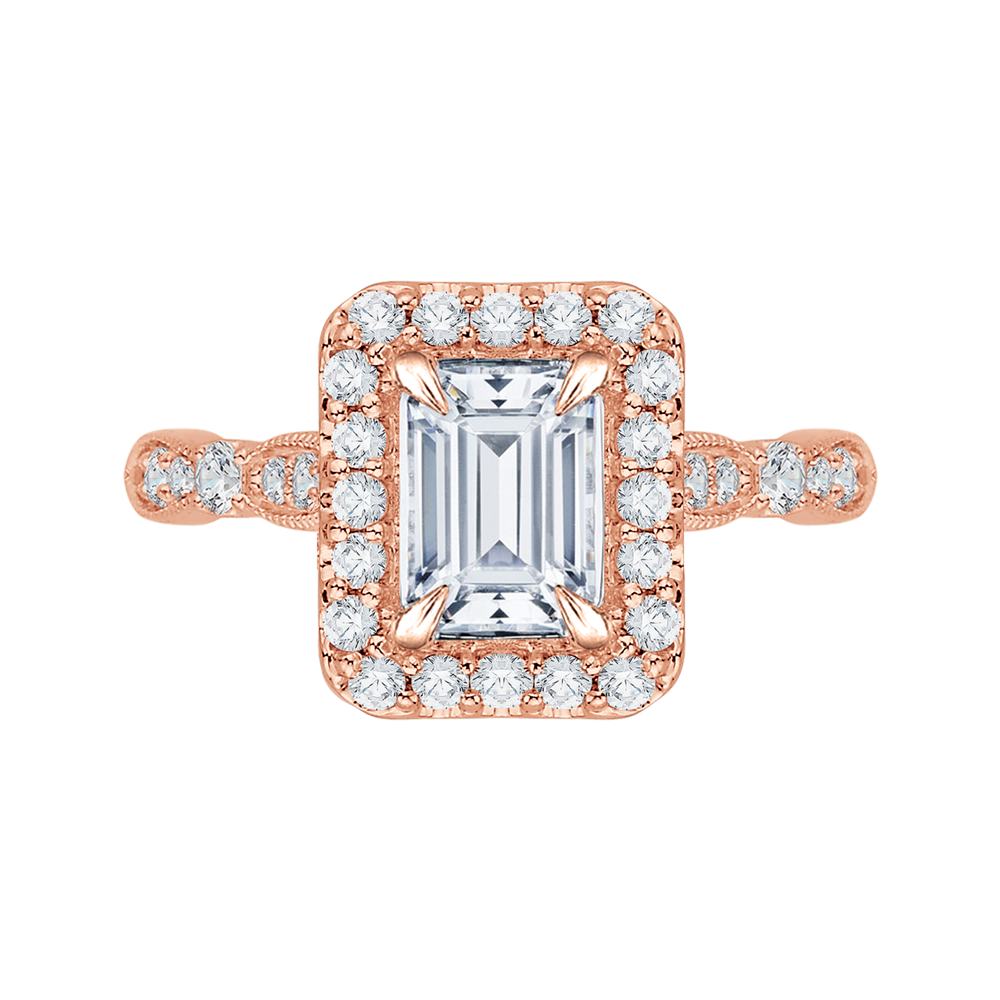 Semi-Mount Rose Gold Emerald Cut Diamond Engagement Ring CARIZZA CAE0042E-37P