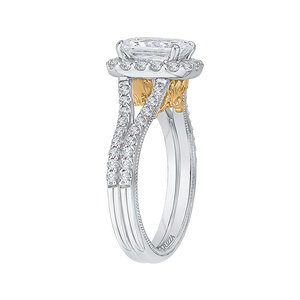 Two Tone 14K Gold Halo Diamond Engagement Ring CARIZZA CAE0193EH-37WY-1.50