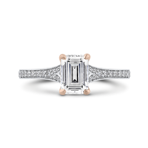 Semi-Mount Emerald Cut Diamond Engagement Ring CARIZZA CAE0424EH-37WP-1.25