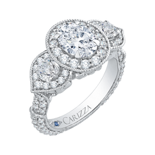Load image into Gallery viewer, Semi-Mount Oval Diamond Halo Engagement Ring CARIZZA CAO0215E-37W-1.50