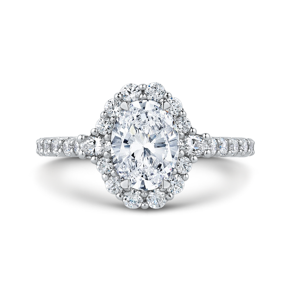 Oval Diamond Halo Engagement Ring CARIZZA CAO0233EH-37W-1.50