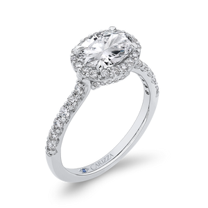 Oval Diamond Halo Engagement Ring CARIZZA CAO0243EH-37W-1.50