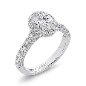 Semi-Mount Oval Diamond Halo Engagement Ring CARIZZA CAO0435EH-37W-1.00