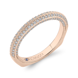Rose Gold Diamond Wedding Band CARIZZA CAO0438BH-37P-1.00