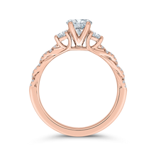 Load image into Gallery viewer, Rose Gold Semi-Mount Round Diamond Engagement Ring CARIZZA CAO0482EH-37P-1.00