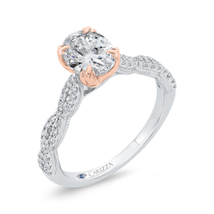 Crossover Shank White and Rose Gold Oval Diamond Engagement Ring CARIZZA CAO0534EH-37WP-1.25