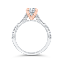 Load image into Gallery viewer, Crossover Shank White and Rose Gold Oval Diamond Engagement Ring CARIZZA CAO0534EH-37WP-1.25