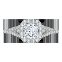 Load image into Gallery viewer, Split Shank Princess Diamond Halo Engagement Ring CARIZZA CAP0033E-37W